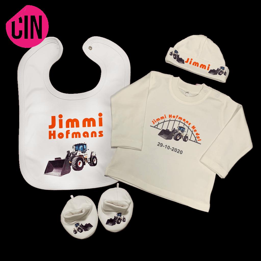 Cindysigns slabber en baby shirt met geboortekaartje opdruk