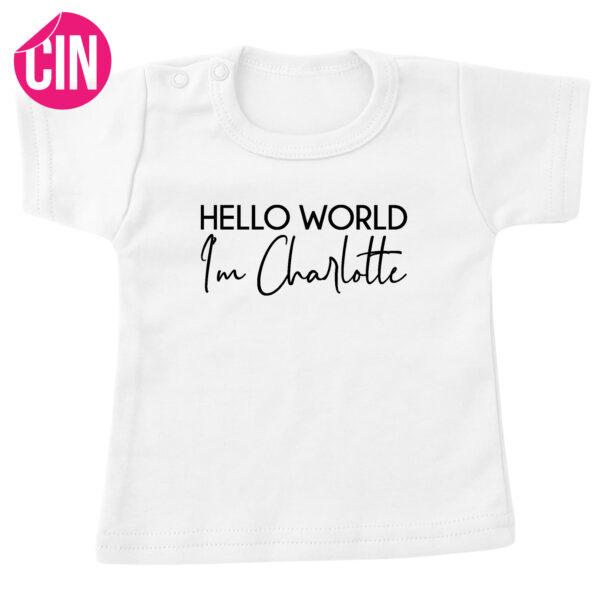 t-shirt hello world korte mouw wit