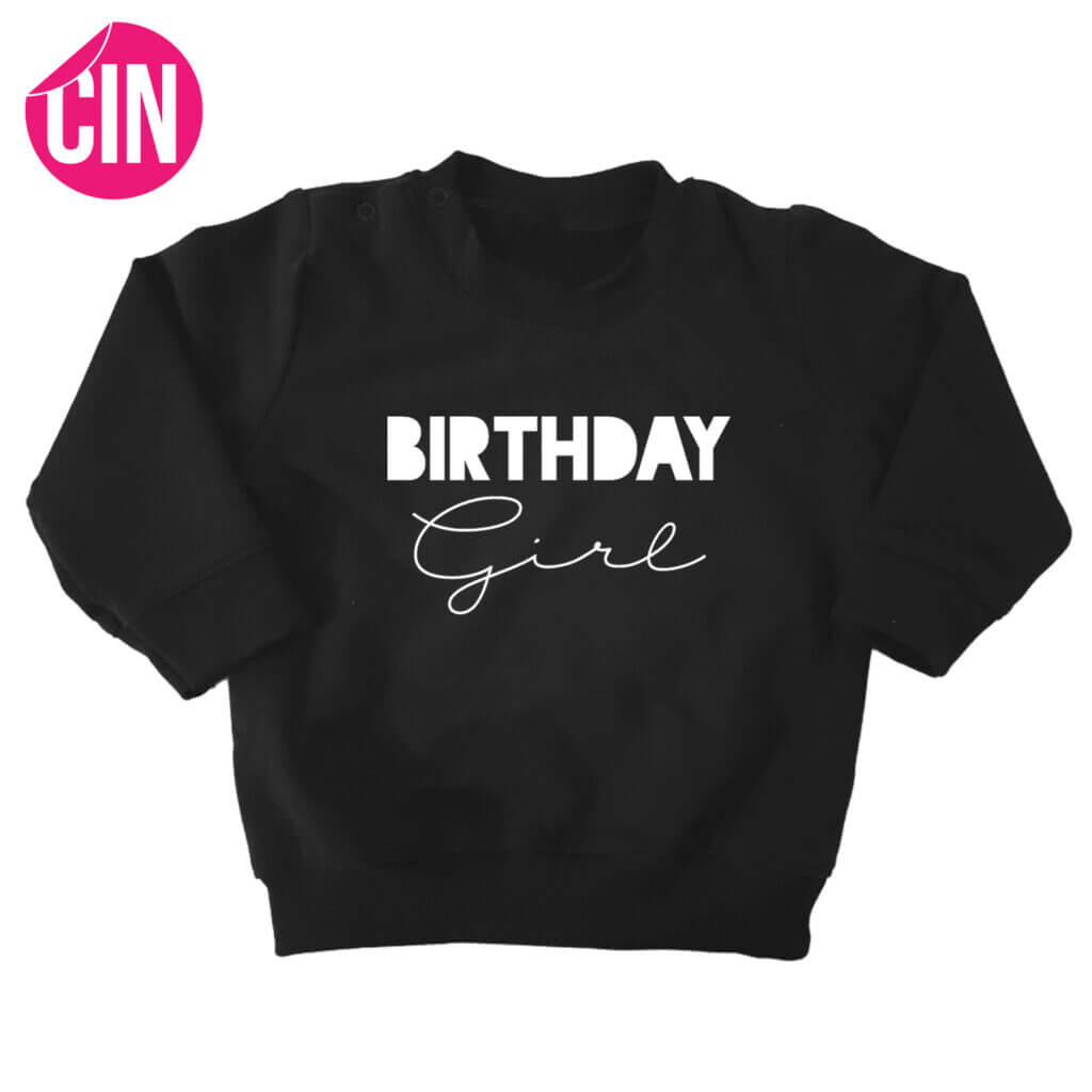 sweater birthday girl zwart cindysigns
