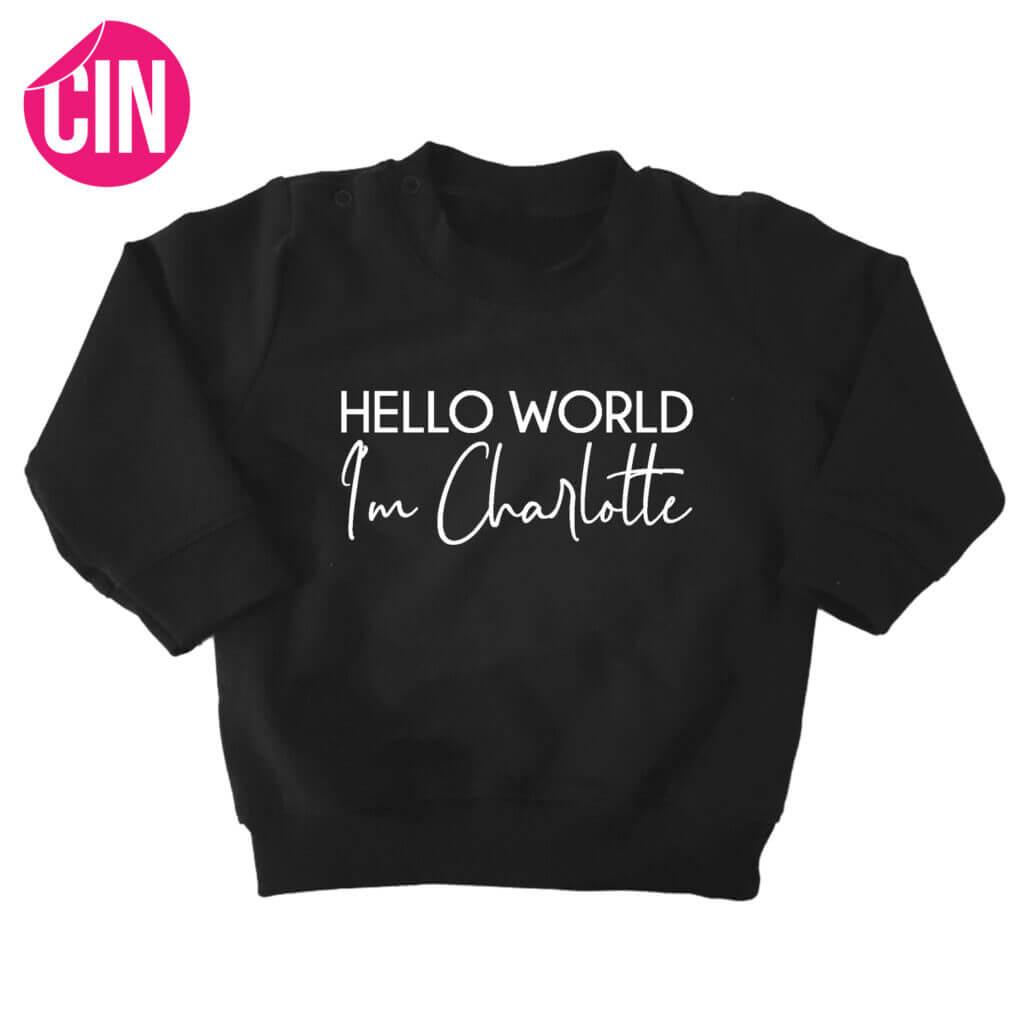 sweater hello world zwart