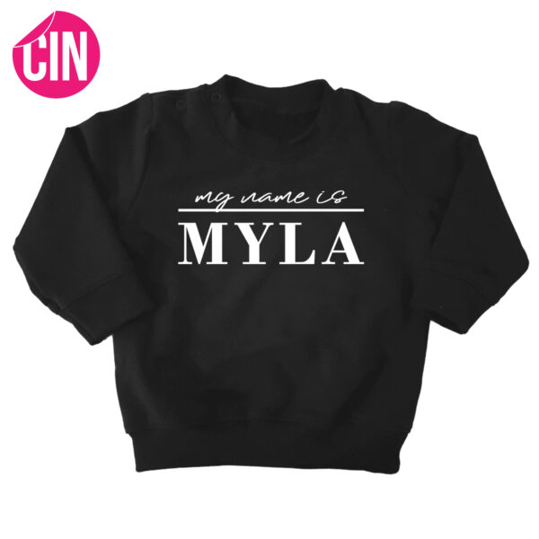 my name is sweater zwart cindysigns