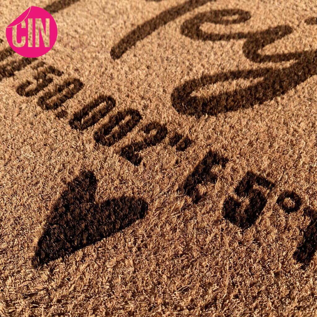 Deurmat met naam familie coördinaten laser gravering kokosmat deurmat Cindysigns