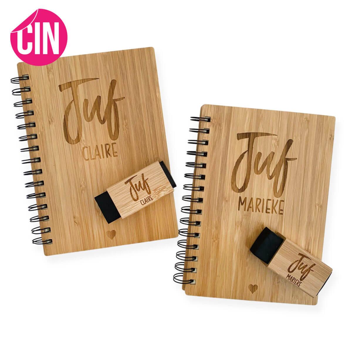 Persoonlijk notitieboek en gum Cindysigns